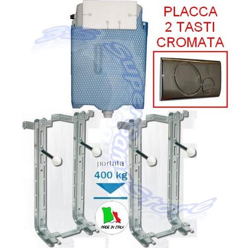 Kit installazione sanitari sospesi placca wc cromata