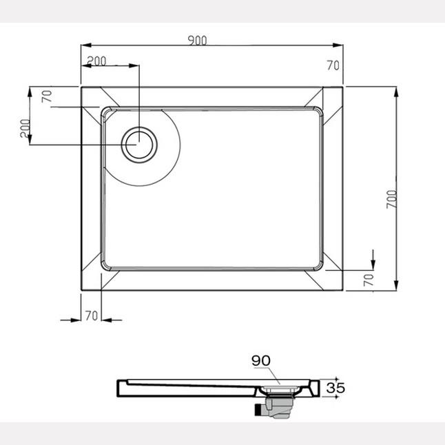 PIATTI DOCCIA in ACRILICO : Piatto doccia in acrilico 70x90 cm rettangolare - ultra piatto ...