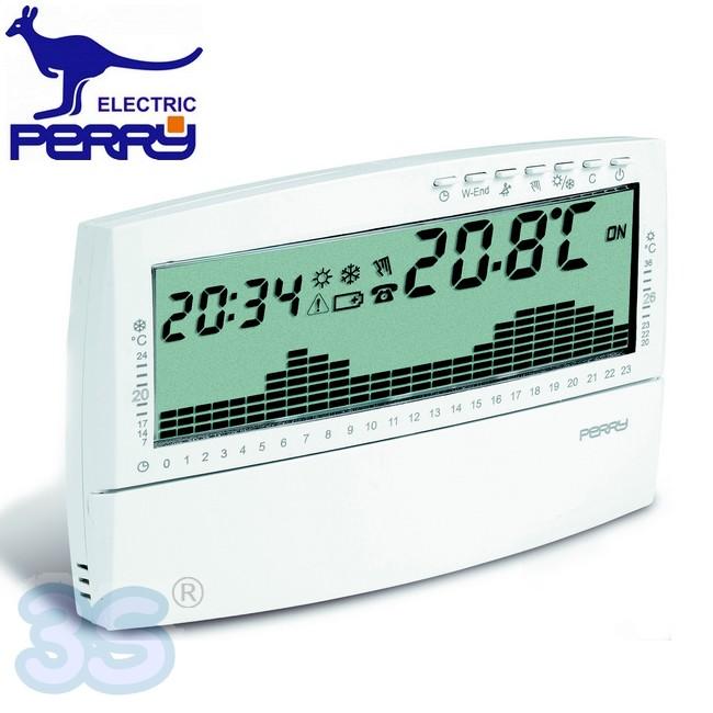 3S Cronotermostato PERRY UP /& DOWN programmazione giornaliera 1CRCR017BG BIANCO