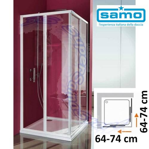 Box Doccia Ciao Samo.Dettagli Su 3s Box Doccia Samo Modello Ciao Cristallo Trasparente Piatto Quadrato 64 74 Cm