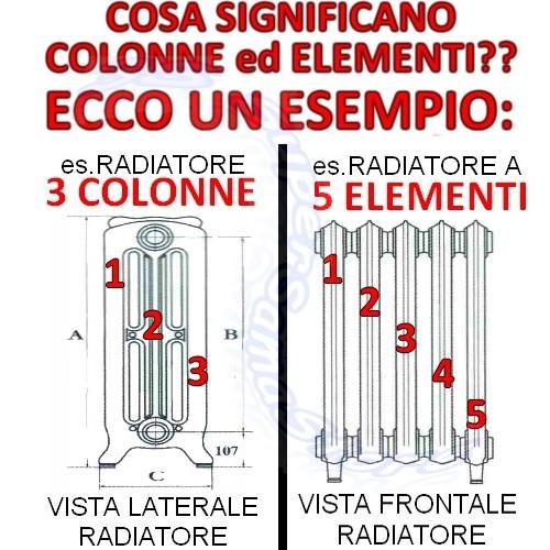 Lisci Calorifero In Ghisa Liberty Ercos Liscio 3 Colonne H950 Mm