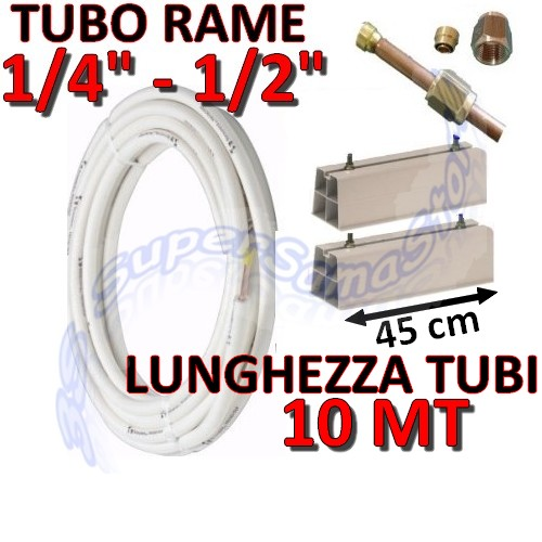 Kit 1 4 1 2 kit montaggio fai da te clima 10mt for Tubo di rame vs pvc