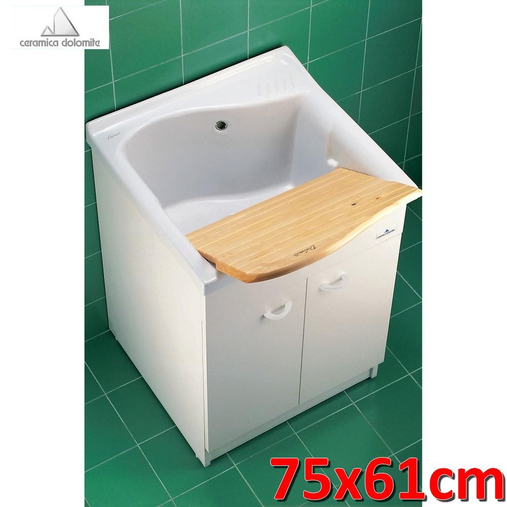Lavatoio In Ceramica Per Lavanderia.3s Lavatoio 75x61 Cm Con Mobile E Asse Legno Lago Ceramica Dolomite