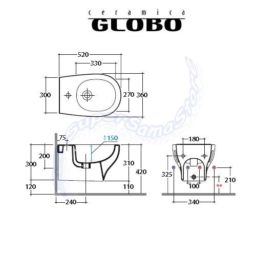 Serie GRACE - GLOBO : Coppia sanitari sospesi - GRACE Ceramica Globo ...