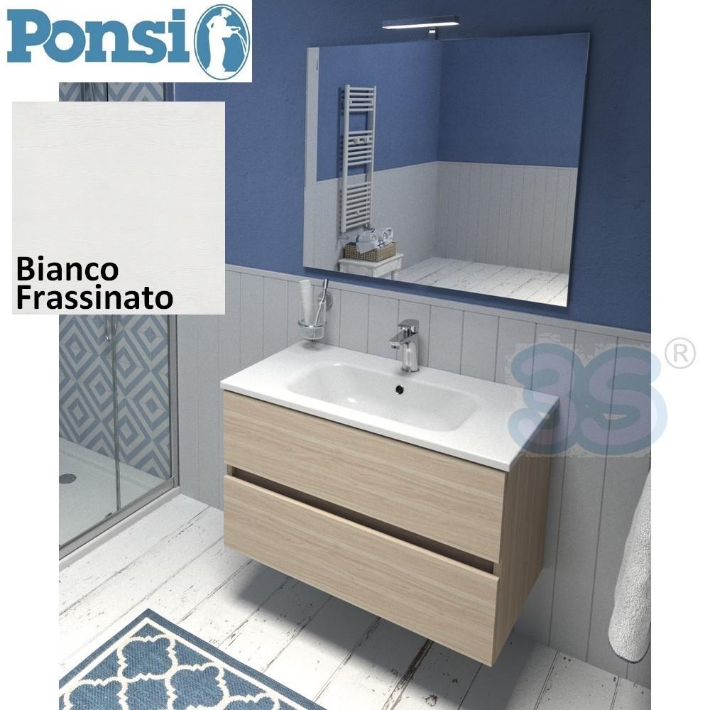 3s mobile da bagno 80cm bianco frassinato con specchio e for Specchio bagno bianco