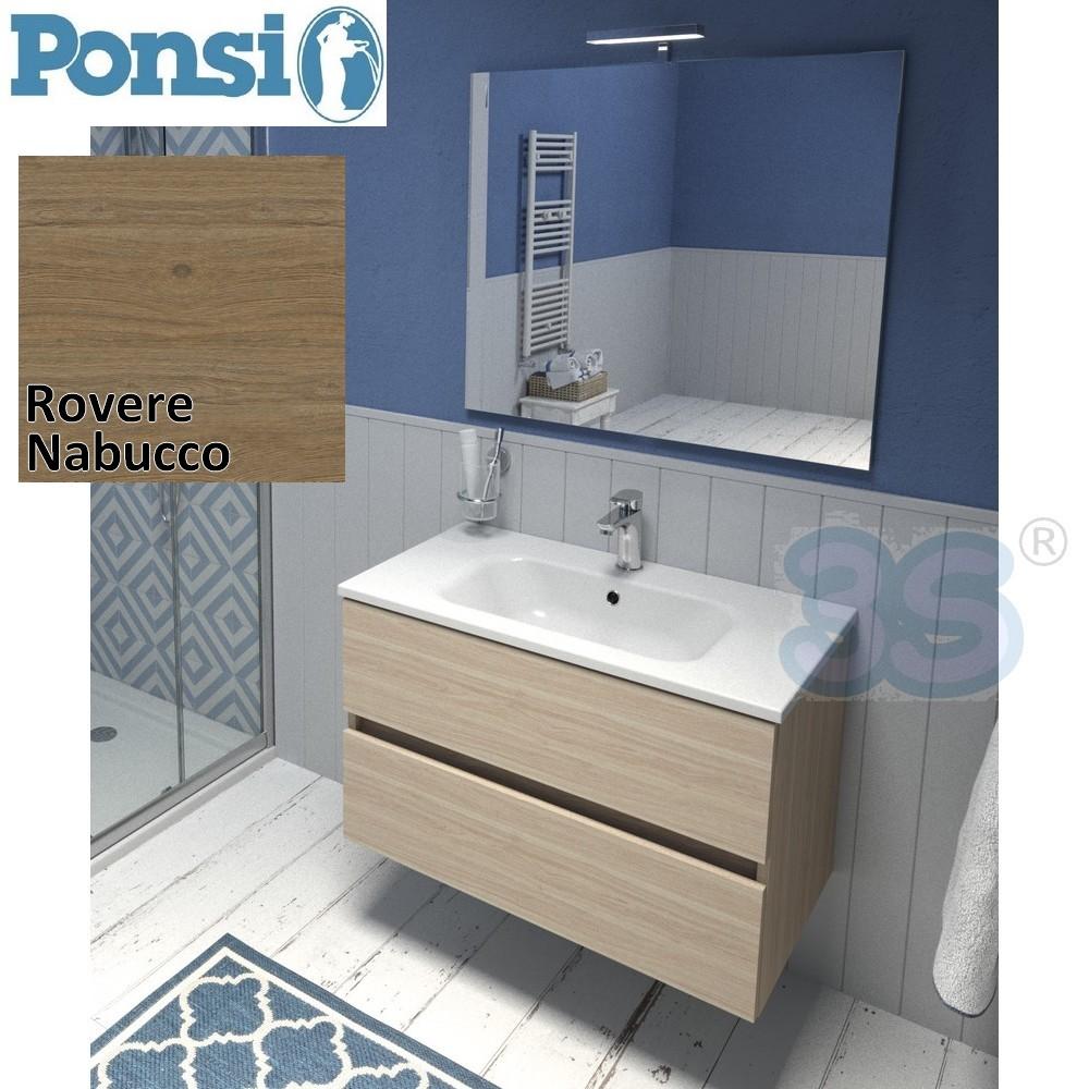 Mobili da bagno ponsi mobile da bagno sospeso 80cm con - Mobile bagno rovere sbiancato ...