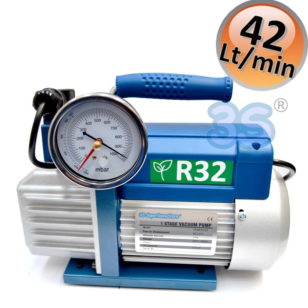 Pompa vuoto monostadio 70 Lt//min per impianti gas R32 R1234YF vacuometro ed elettrovalvola