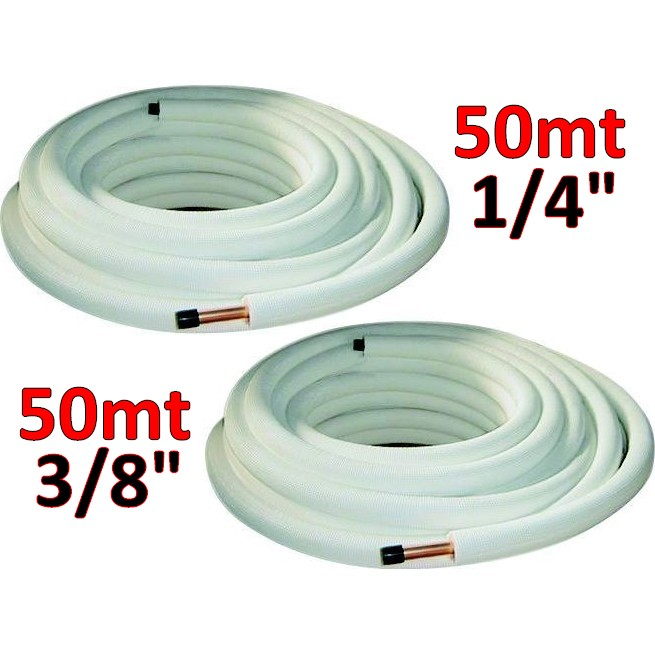 Tubo rame rivestito tubi rame coppia 1 4 3 8 mt 25 for Rubinetti per tubi di rame