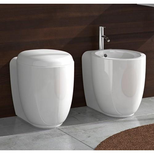 Ceramica stile wc con sedile e bidet filo parete btw - Sanitari filo parete prezzi ...