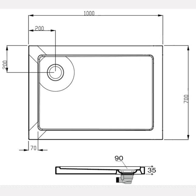 Piatto doccia rettangolare dimensioni for Piatto doccia 70x100 leroy merlin