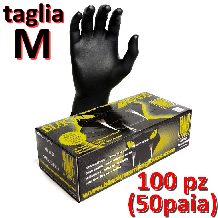 scatola da 100 taglia XXL Guanti Nitrile Nero BlackMamba
