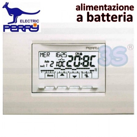 Perry 1CRCDS28 - Cronotermostato digitale a batteria da incasso serie NEXT