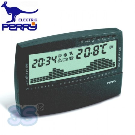 Perry 1CRCR017AG - Cronotermostato giornaliero digitale da parete serie UP & DOWN antracite