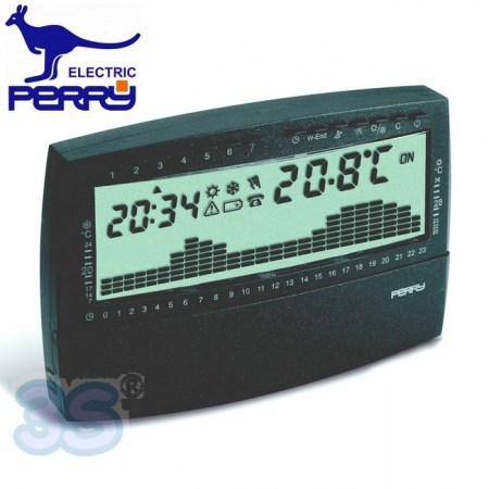 Perry 1CRCR018AS - Cronotermostato settimanale digitale da parete serie UP & DOWN antracite