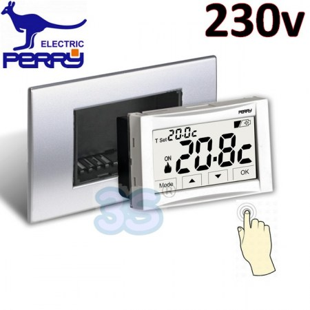 Perry 1TITE543 - Termostato digitale 230v da incasso touch screen MOON SOFT TOUCH