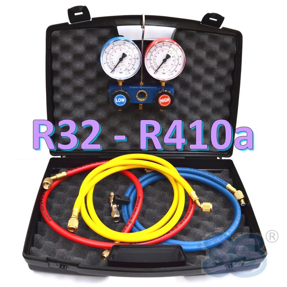 3s monteurhilfe 2 wege r32 r410a mit 3 schl uchen k ltemanometer klimaanlage ebay. Black Bedroom Furniture Sets. Home Design Ideas